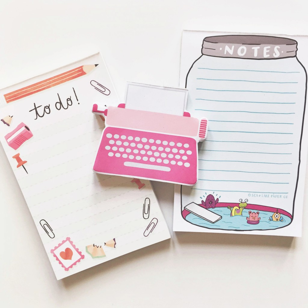 notepads by studio oh, dear lizzy and sea and lake
