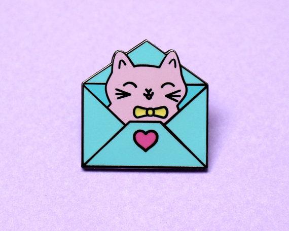 cat in envelope pin